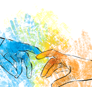 Graphic of two different colored, painted hands touching